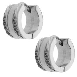 Moise Stainless Steel Diamond-cut Edge Cuff Earrings
