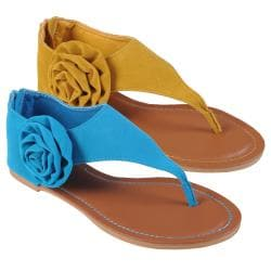 Journee Collection Women's 'Morris-16' Side Flower Faux Suede Sandals