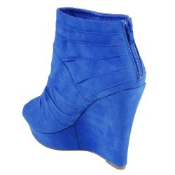 Journee Collection Women's 'TWIST-3' Open Toe Wedge Bootie