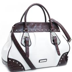 Dasein Large Studded Satchel with Croco Trim and Detachable Shoulder Strap