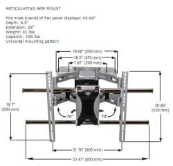 K2 Mounts K4-A1-B Articulating Wall Mount