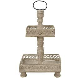 Rustic Two Tiered Square Scroll Tray (China)