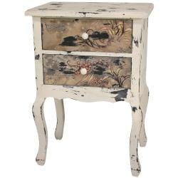 Rustic Pink Berries Two-drawer Night Stand (China)