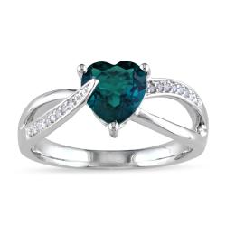 Miadora Sterling Silver 1ct TGW Created Emerald and Diamond Accent Ring