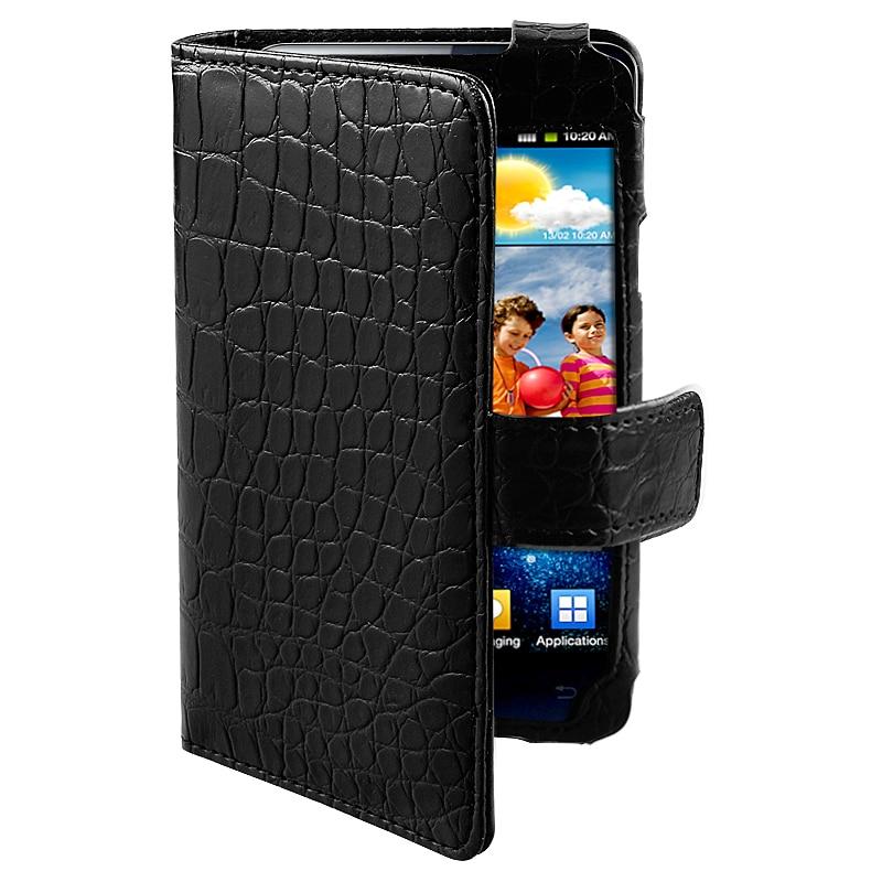 Black Crocodile Leather Case for Samsung Galaxy S II i9100