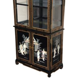 Black Lacquer Curio Cabinet - Mother of Pearl Ladies (China)
