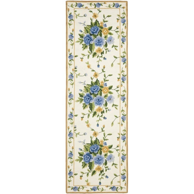 Safavieh Hand-hooked Bouquet Ivory Wool Rug (2'6 x 6')