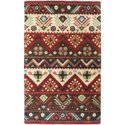 Hand-tufted Burgundy Kodiak New Zealand Wool Rug (8' x 11')