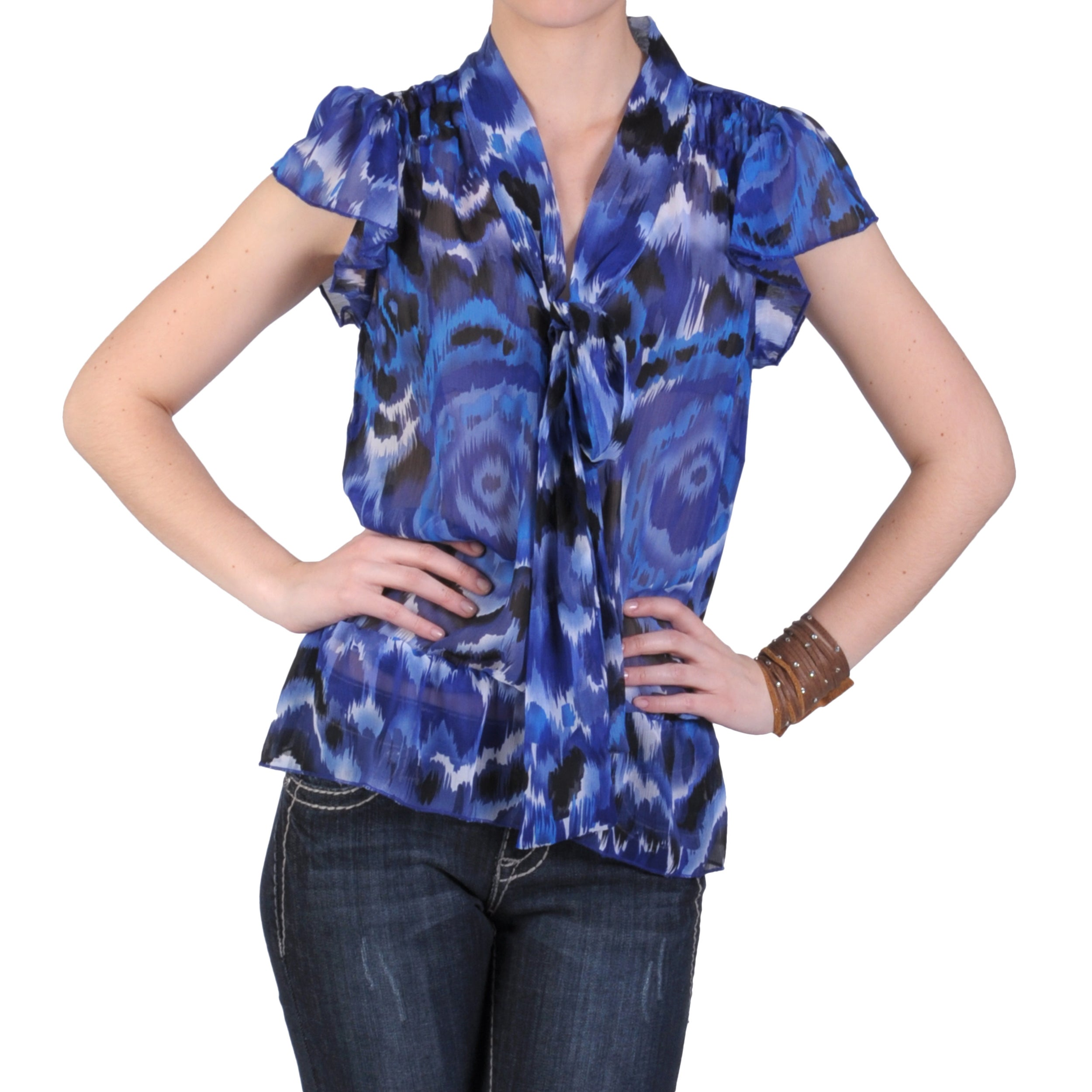Journee Collection Junior's Short-sleeve V-neck Chiffon Top