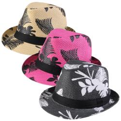 Journee Collection Women's Basketweave Leaf Print Fedora Hat