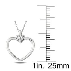 Miadora 10k White Gold Diamond Accent Round Heart Pendant (G-H, I2-I3)