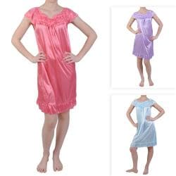 Journee Collection Women's Ruffled Flower Detail Satin Nightgown