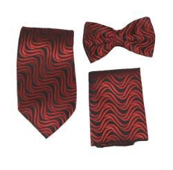 Ferrecci Men's Red/Black Vest Tie Accessory 4-piece Set