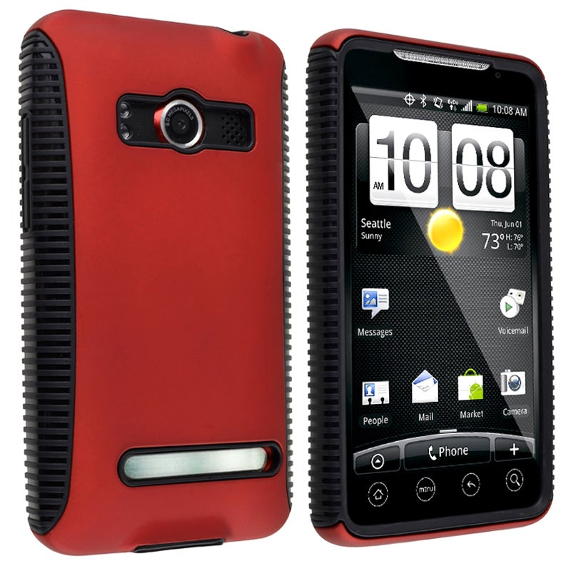 Black TPU/ Red Hard Hybrid Case for HTC EVO 4G