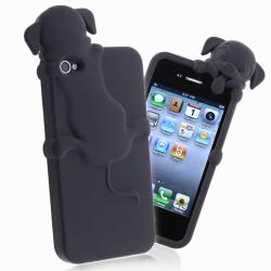 Black Peeking Dog Silicone Skin Case for Apple iPhone 4/ 4S