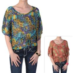 Journee Collection Juniors Butterfly Sleeve Tie Waist Chiffon Top