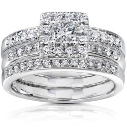 14k White Gold 3/4ct TDW Diamond Bridal Set