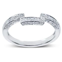 14k White Gold 1/6ct TDW Diamond Curved Wedding Band (H-I, I1-I2)