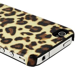 Brown Leopard Rear Snap-on Leather Case for Apple iPhone 4/ 4S