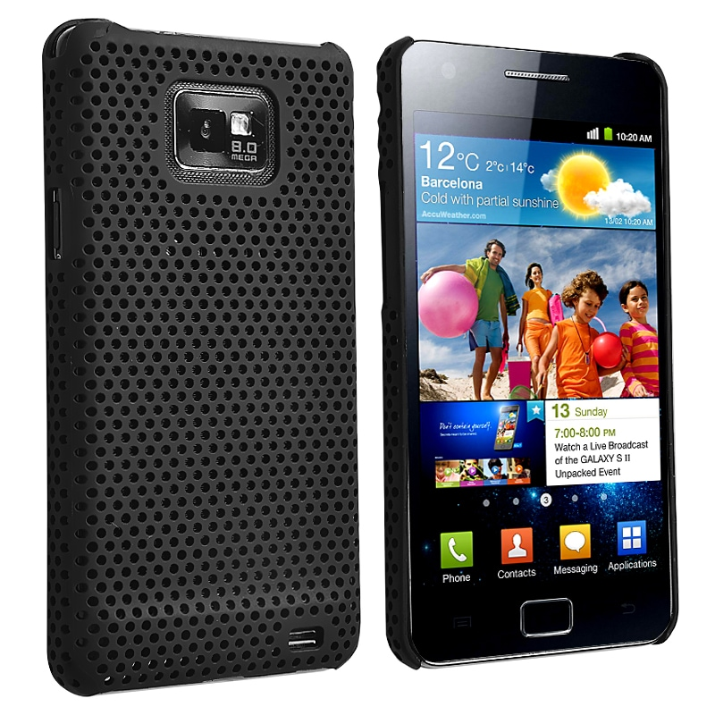 Black Mesh V2 Snap-on Rubber Coated Case for Samsung Galaxy S II i9100