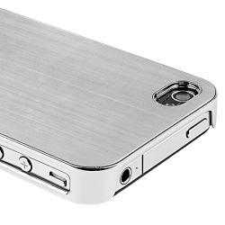 Silver Brushed Aluminum Rear Snap-on Case for Apple iPhone 4/ 4S