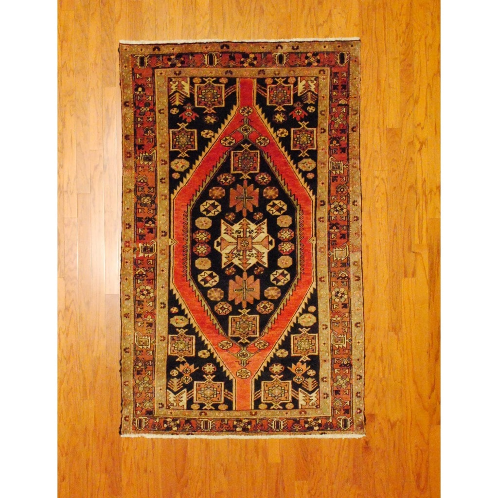Persian Hand-knotted Hamadan Rust/ Black Wool Rug (4'6 x 7'5)