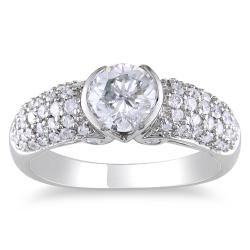 Miadora 14k White Gold 1 1/2ct TDW Certified Diamond Engagement Ring (H-I, I1)