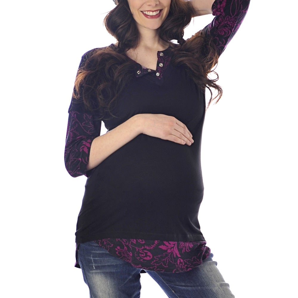 Lilac Clothing Women's Maternity Cindi Black/Plum Top