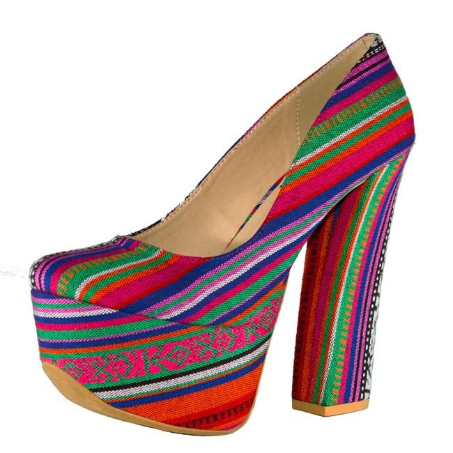 Fahrenheit Women's 'Anne-42' Canvas Rainbow-striped Red Chunky Heel Pump