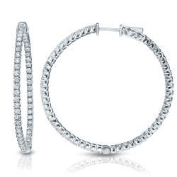 14k Gold 1 1/2ct TDW Diamond Hoop Earrings (H-I, SI1-SI2)