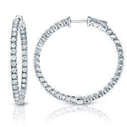 14k Gold 3/4ct TDW Diamond Hoop Earrings (H-I, SI1-SI2)