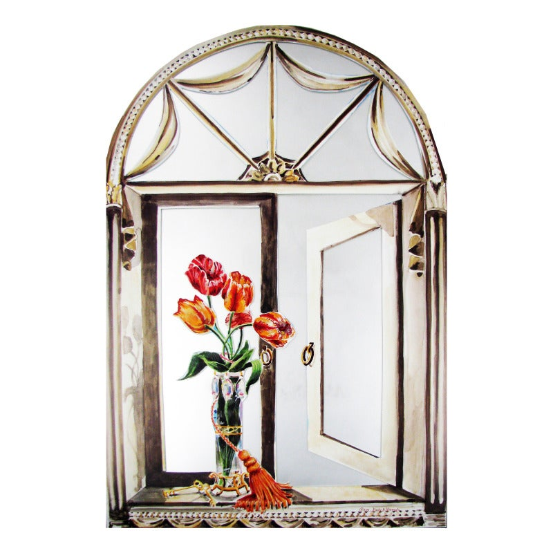 Faux Window Mirror Scene with Tulips and Tassel