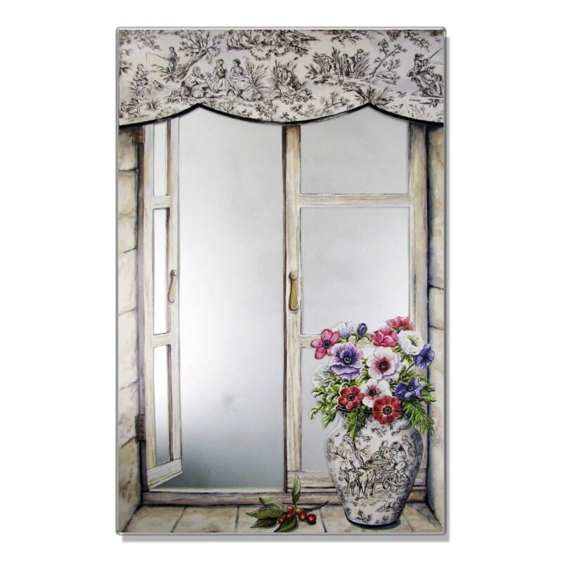 Faux Window Mirror Scene with Toile Vase