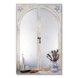 Faux Window Mirror Scene with Sailboat and Vase of Feathers