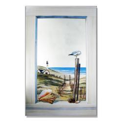 Faux Window Mirror Scene with Seagull