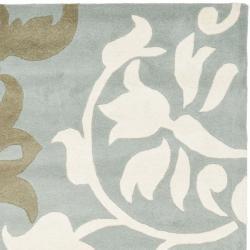 Safavieh Handmade Silhouettes Blue/Grey New Zealand Wool Rug (9'6 x 13'6)