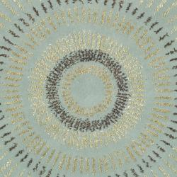 Handmade Deco Explosions Light Blue/ Multi Wool Rug (8' Round)