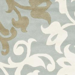 Handmade Silhouettes Blue/Grey New Zealand Wool Rug (9'6 x 13'6)