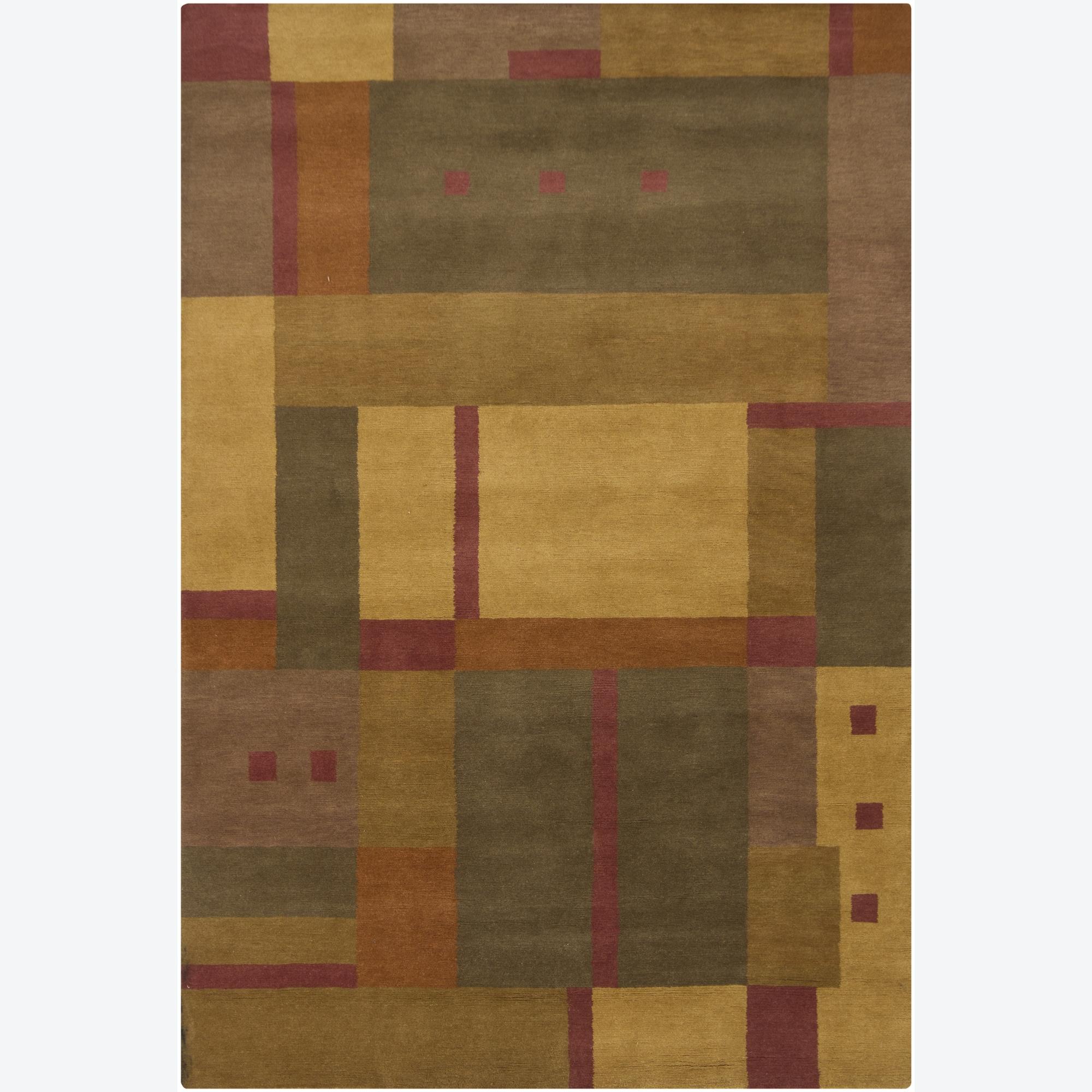 Hand-knotted Mandara Geometric New Zealand Wool Rug (6' x 9')