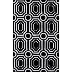 angelo:HOME Hand-tufted Black Hudson Park Polyester Rug (3&#39;3 x 5&#39;3)