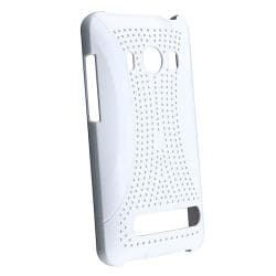 BasAcc White Meshed Rear Snap-on Rubber Coated Case for HTC EVO 4G