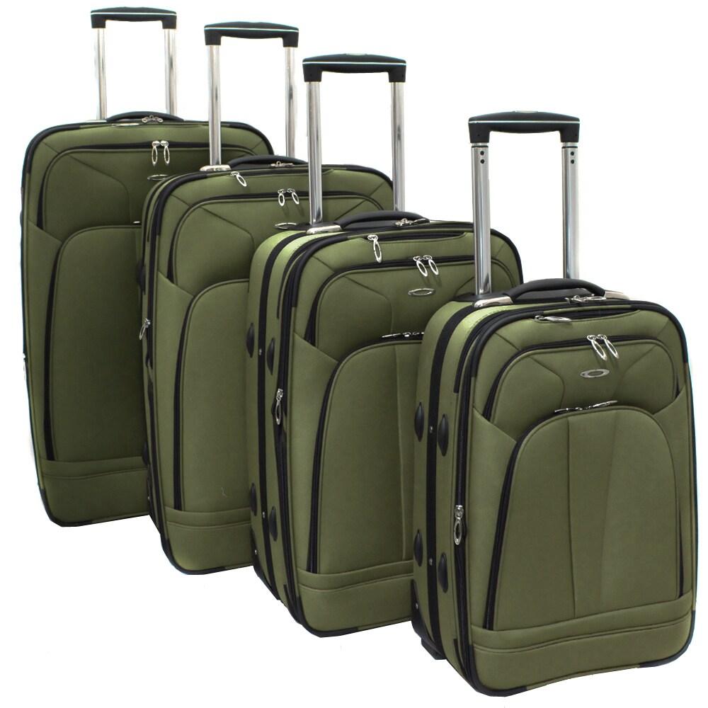 Kemyer Olive Green 4-piece Expandable Upright Luggage Set