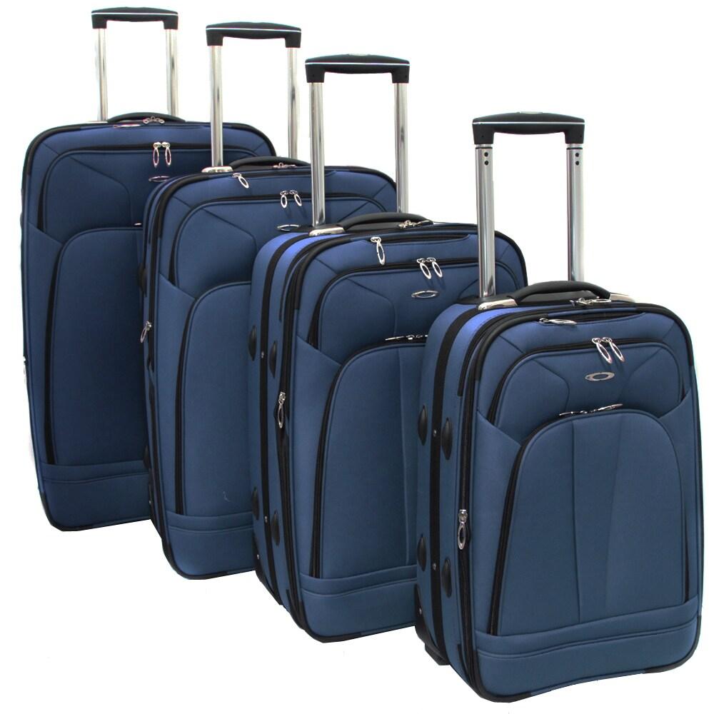 Kemyer Malibu Blue 4-piece Expandable Upright Luggage Set