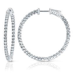 14k Gold 1-1/2ct TDW Diamond Hoop Earrings (J-K, I1-I2)