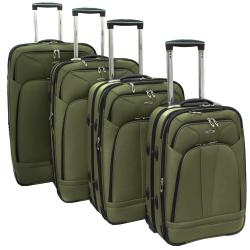 Kemyer Olive Green 4-piece Expandable Upright Luggage Set