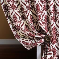 Exclusive Fabrics Classique Wine Printed Cotton 96-inch Curtain Panel