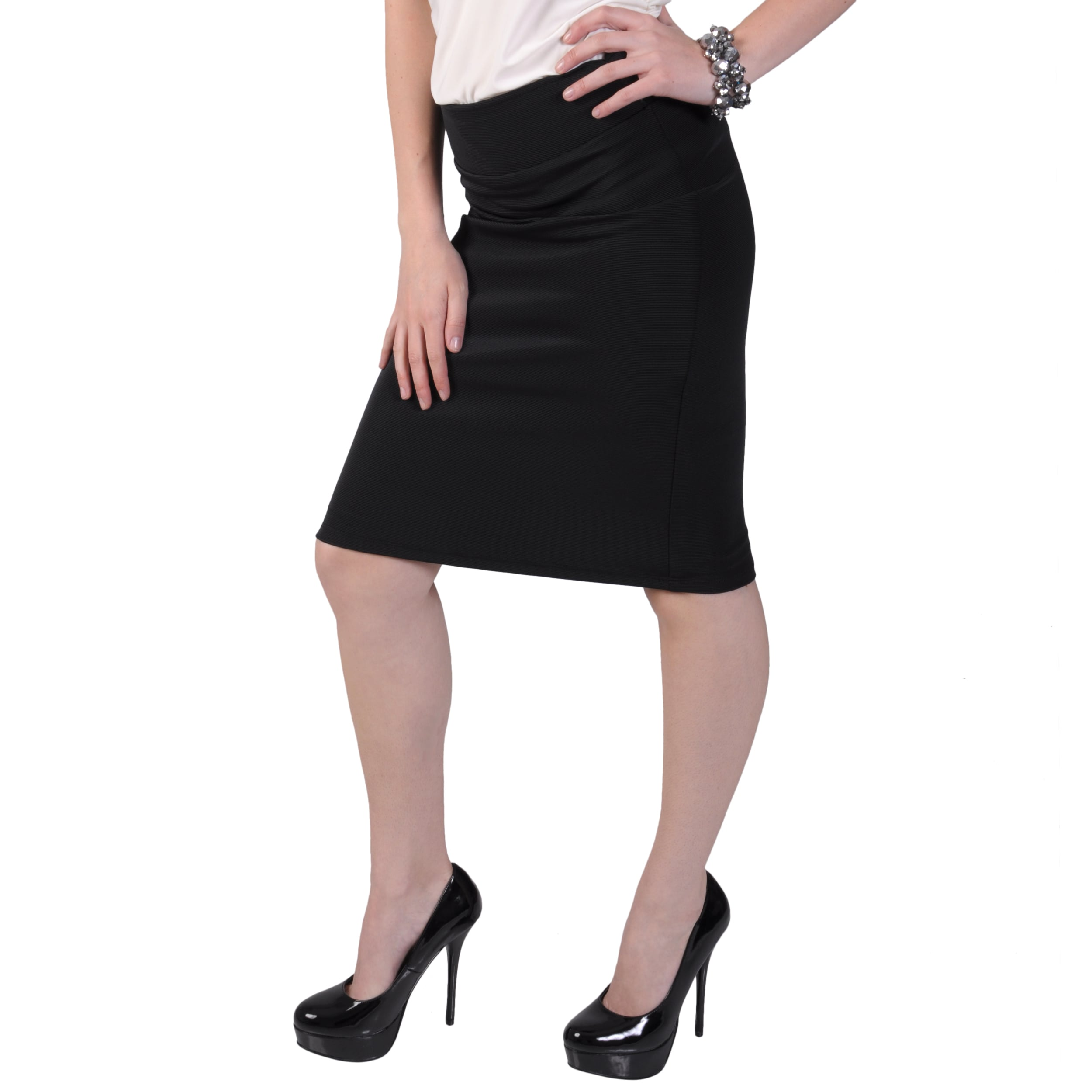 Tressa Designs Women's Stretchy Pinstriped Pencil Skirt