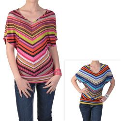 Tressa Designs Women's Striped V-neck Banded Top