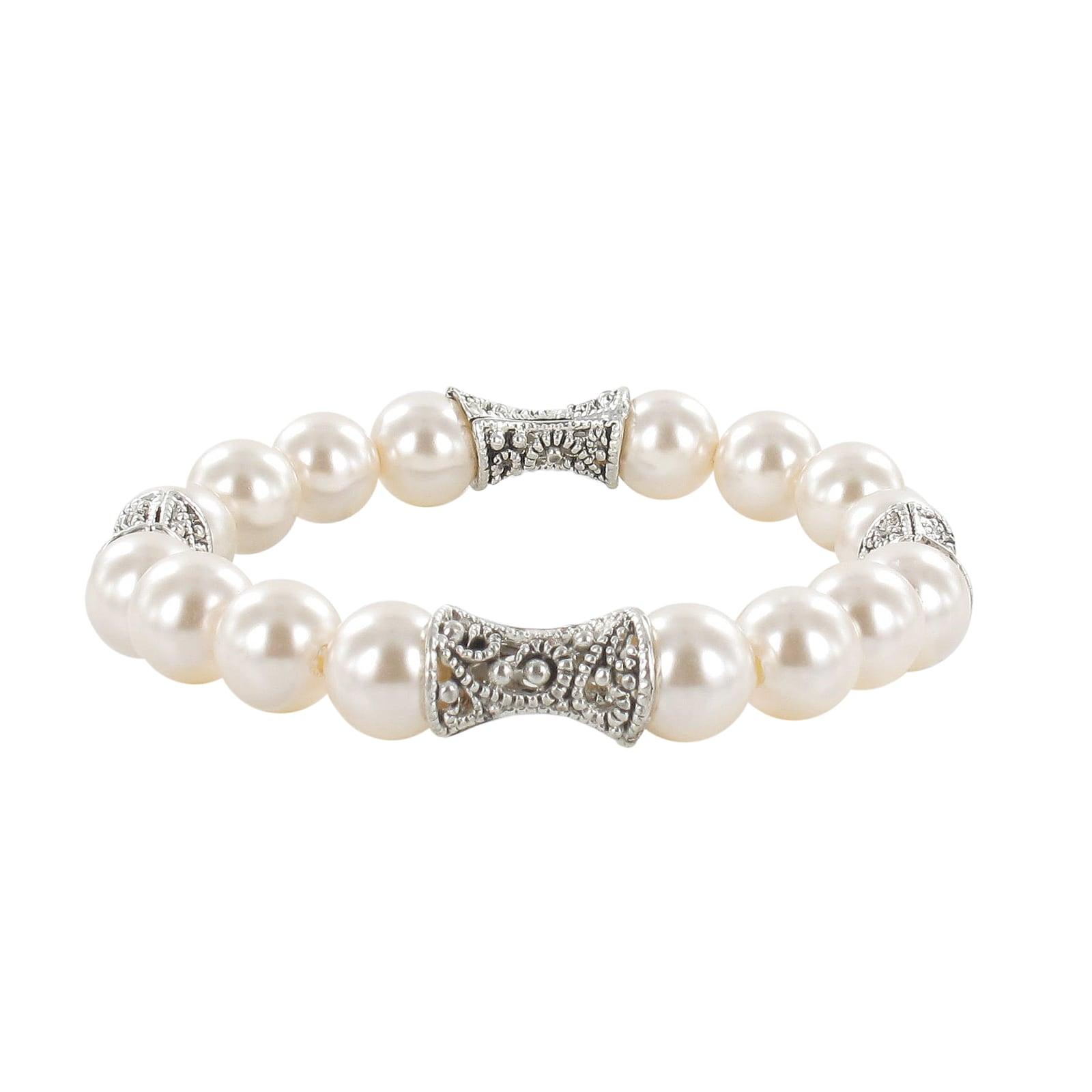 Roman Silvertone Faux Pearl Artisan Bali Antiqued Bead Stretch Bracelet