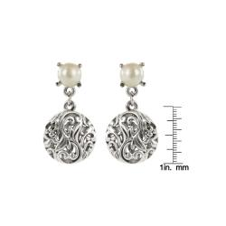Roman Silvertone Faux Pearl Artisan Filigree Earrings